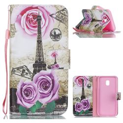 Rose Eiffel Tower Leather Wallet Phone Case for Samsung Galaxy J3 2017 J330 Eurasian