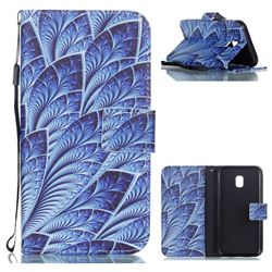Blue Feather Leather Wallet Phone Case for Samsung Galaxy J3 2017 J330 Eurasian