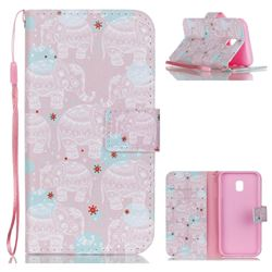 Pink Elephant Leather Wallet Phone Case for Samsung Galaxy J3 2017 J330 Eurasian