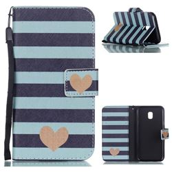 Blue Stripe Heart Leather Wallet Phone Case for Samsung Galaxy J3 2017 J330 Eurasian