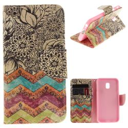 Wave Flower PU Leather Wallet Case for Samsung Galaxy J3 2017 J330 Eurasian