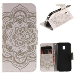 White Flowers PU Leather Wallet Case for Samsung Galaxy J3 2017 J330 Eurasian
