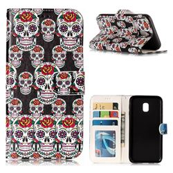 Flower Skull 3D Relief Oil PU Leather Wallet Case for Samsung Galaxy J3 2017 J330 Eurasian