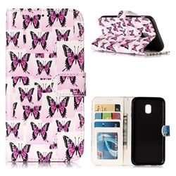 Butterflies Stickers 3D Relief Oil PU Leather Wallet Case for Samsung Galaxy J3 2017 J330 Eurasian