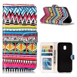Tribal Pattern 3D Relief Oil PU Leather Wallet Case for Samsung Galaxy J3 2017 J330 Eurasian