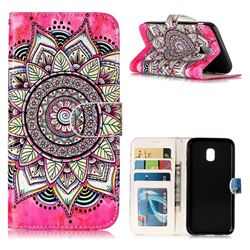 Rose Mandala 3D Relief Oil PU Leather Wallet Case for Samsung Galaxy J3 2017 J330 Eurasian