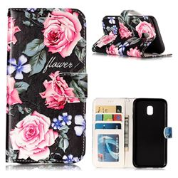 Peony 3D Relief Oil PU Leather Wallet Case for Samsung Galaxy J3 2017 J330 Eurasian