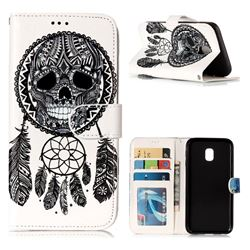 Wind Chimes Skull 3D Relief Oil PU Leather Wallet Case for Samsung Galaxy J3 2017 J330 Eurasian