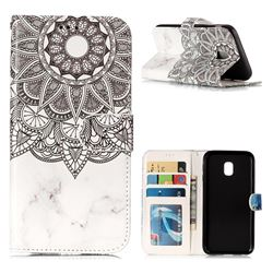 Marble Mandala 3D Relief Oil PU Leather Wallet Case for Samsung Galaxy J3 2017 J330 Eurasian