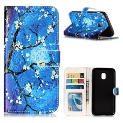 Plum Blossom 3D Relief Oil PU Leather Wallet Case for Samsung Galaxy J3 2017 J330 Eurasian
