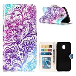 Purple Lotus 3D Relief Oil PU Leather Wallet Case for Samsung Galaxy J3 2017 J330 Eurasian