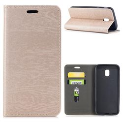 Tree Bark Pattern Automatic suction Leather Wallet Case for Samsung Galaxy J3 2017 J330 Eurasian - Champagne Gold