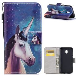 Blue Unicorn PU Leather Wallet Case for Samsung Galaxy J3 2017 J330 Eurasian