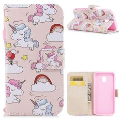 Rainbow Unicorn PU Leather Wallet Case for Samsung Galaxy J3 2017 J330 Eurasian