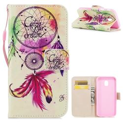 Feather Wind Chimes PU Leather Wallet Case for Samsung Galaxy J3 2017 J330 Eurasian