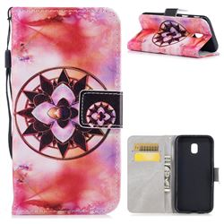 Red Mandala PU Leather Wallet Case for Samsung Galaxy J3 2017 J330 Eurasian