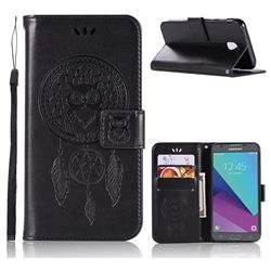 Intricate Embossing Owl Campanula Leather Wallet Case for Samsung Galaxy J3 2017 J330 Eurasian - Black