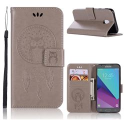 Intricate Embossing Owl Campanula Leather Wallet Case for Samsung Galaxy J3 2017 J330 Eurasian - Grey