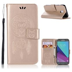 Intricate Embossing Owl Campanula Leather Wallet Case for Samsung Galaxy J3 2017 J330 Eurasian - Champagne