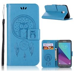 Intricate Embossing Owl Campanula Leather Wallet Case for Samsung Galaxy J3 2017 J330 Eurasian - Blue