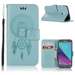 Intricate Embossing Owl Campanula Leather Wallet Case for Samsung Galaxy J3 2017 J330 Eurasian - Green