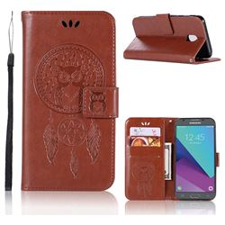 Intricate Embossing Owl Campanula Leather Wallet Case for Samsung Galaxy J3 2017 J330 Eurasian - Brown