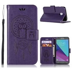 Intricate Embossing Owl Campanula Leather Wallet Case for Samsung Galaxy J3 2017 J330 Eurasian - Purple