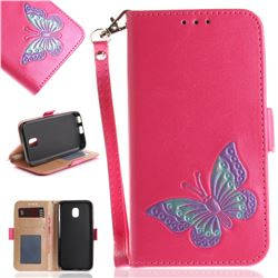 Imprint Embossing Butterfly Leather Wallet Case for Samsung Galaxy J3 2017 J330 Eurasian - Rose Red