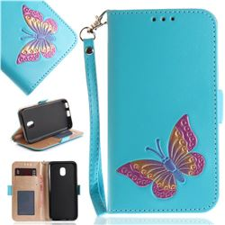 Imprint Embossing Butterfly Leather Wallet Case for Samsung Galaxy J3 2017 J330 Eurasian - Sky Blue