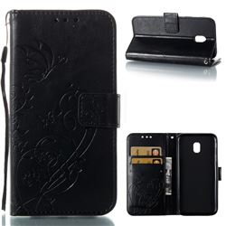 Embossing Butterfly Flower Leather Wallet Case for Samsung Galaxy J3 2017 J330 Eurasian - Black