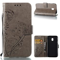 Embossing Butterfly Flower Leather Wallet Case for Samsung Galaxy J3 2017 J330 Eurasian - Grey