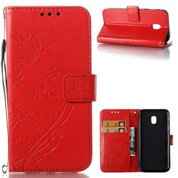 Embossing Butterfly Flower Leather Wallet Case for Samsung Galaxy J3 2017 J330 Eurasian - Red