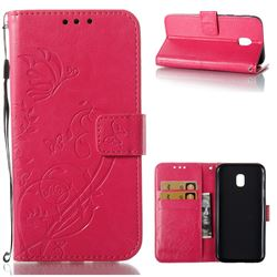 Embossing Butterfly Flower Leather Wallet Case for Samsung Galaxy J3 2017 J330 Eurasian - Rose