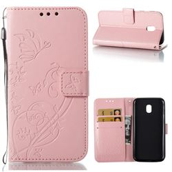 Embossing Butterfly Flower Leather Wallet Case for Samsung Galaxy J3 2017 J330 Eurasian - Pink