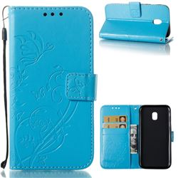 Embossing Butterfly Flower Leather Wallet Case for Samsung Galaxy J3 2017 J330 Eurasian - Blue