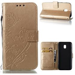 Embossing Butterfly Flower Leather Wallet Case for Samsung Galaxy J3 2017 J330 Eurasian - Champagne