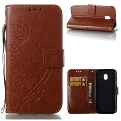 Embossing Butterfly Flower Leather Wallet Case for Samsung Galaxy J3 2017 J330 Eurasian - Brown
