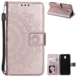 Intricate Embossing Datura Leather Wallet Case for Samsung Galaxy J3 2017 J330 Eurasian - Rose Gold