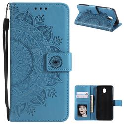 Intricate Embossing Datura Leather Wallet Case for Samsung Galaxy J3 2017 J330 Eurasian - Blue