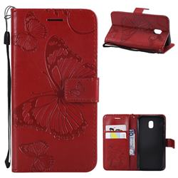 Embossing 3D Butterfly Leather Wallet Case for Samsung Galaxy J3 2017 J330 Eurasian - Red