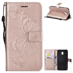 Embossing 3D Butterfly Leather Wallet Case for Samsung Galaxy J3 2017 J330 Eurasian - Rose Gold