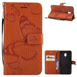 Embossing 3D Butterfly Leather Wallet Case for Samsung Galaxy J3 2017 J330 Eurasian - Orange