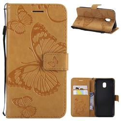 Embossing 3D Butterfly Leather Wallet Case for Samsung Galaxy J3 2017 J330 Eurasian - Yellow
