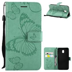 Embossing 3D Butterfly Leather Wallet Case for Samsung Galaxy J3 2017 J330 Eurasian - Green