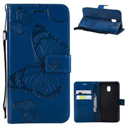 Embossing 3D Butterfly Leather Wallet Case for Samsung Galaxy J3 2017 J330 Eurasian - Blue