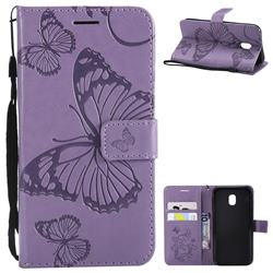 Embossing 3D Butterfly Leather Wallet Case for Samsung Galaxy J3 2017 J330 Eurasian - Purple