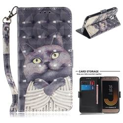 Cat Embrace 3D Painted Leather Wallet Phone Case for Samsung Galaxy J3 2017 J330 Eurasian