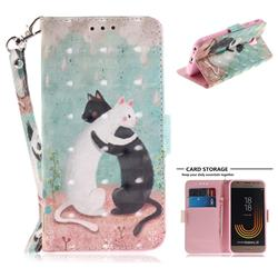Black and White Cat 3D Painted Leather Wallet Phone Case for Samsung Galaxy J3 2017 J330 Eurasian