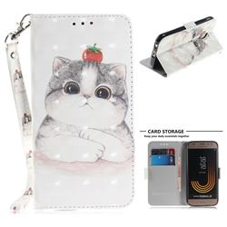 Cute Tomato Cat 3D Painted Leather Wallet Phone Case for Samsung Galaxy J3 2017 J330 Eurasian