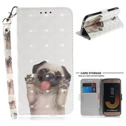 Pug Dog 3D Painted Leather Wallet Phone Case for Samsung Galaxy J3 2017 J330 Eurasian